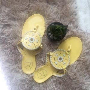 Jack Rogers NEW Yellow & White Georgica Sandals